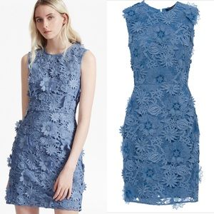 French Connection Blue 3D Lace Dress